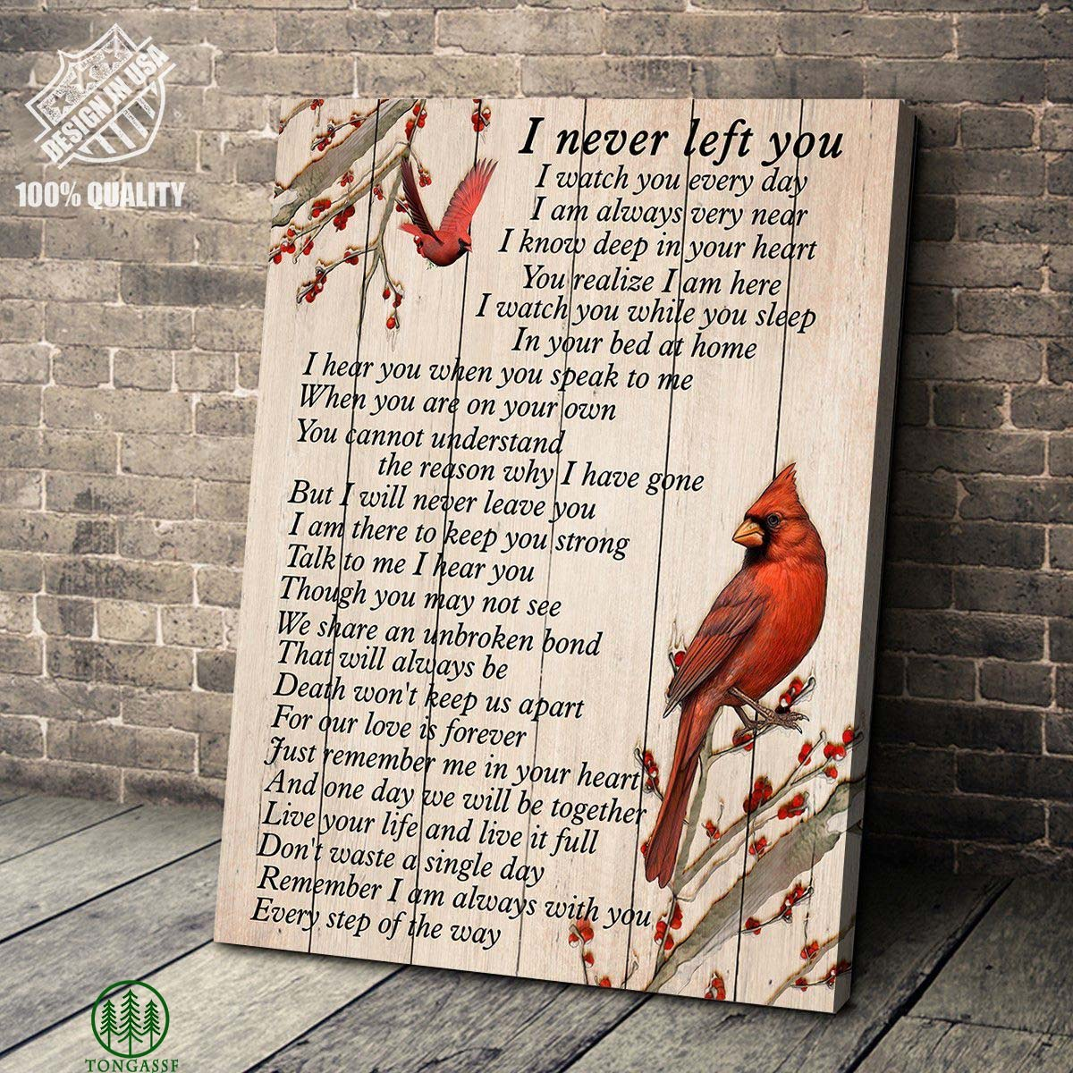 I Never Left You Cardinal Bird Gallery Wrapped Canvas Prints