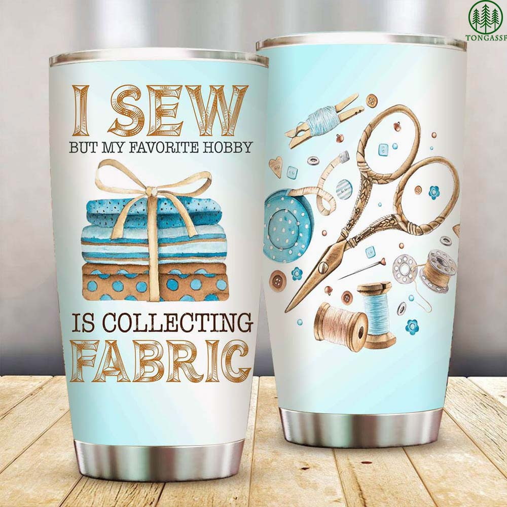 I Sew and Collect Fabric Stainless Steel Tumbler