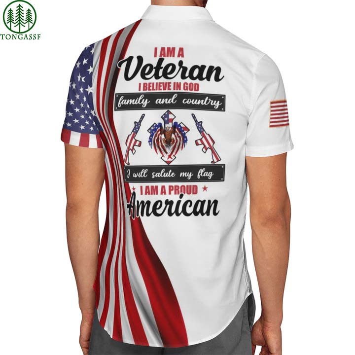 I am a US Veteran I Believe In God Family And Country I Am A Proud American Hawaii Shirt