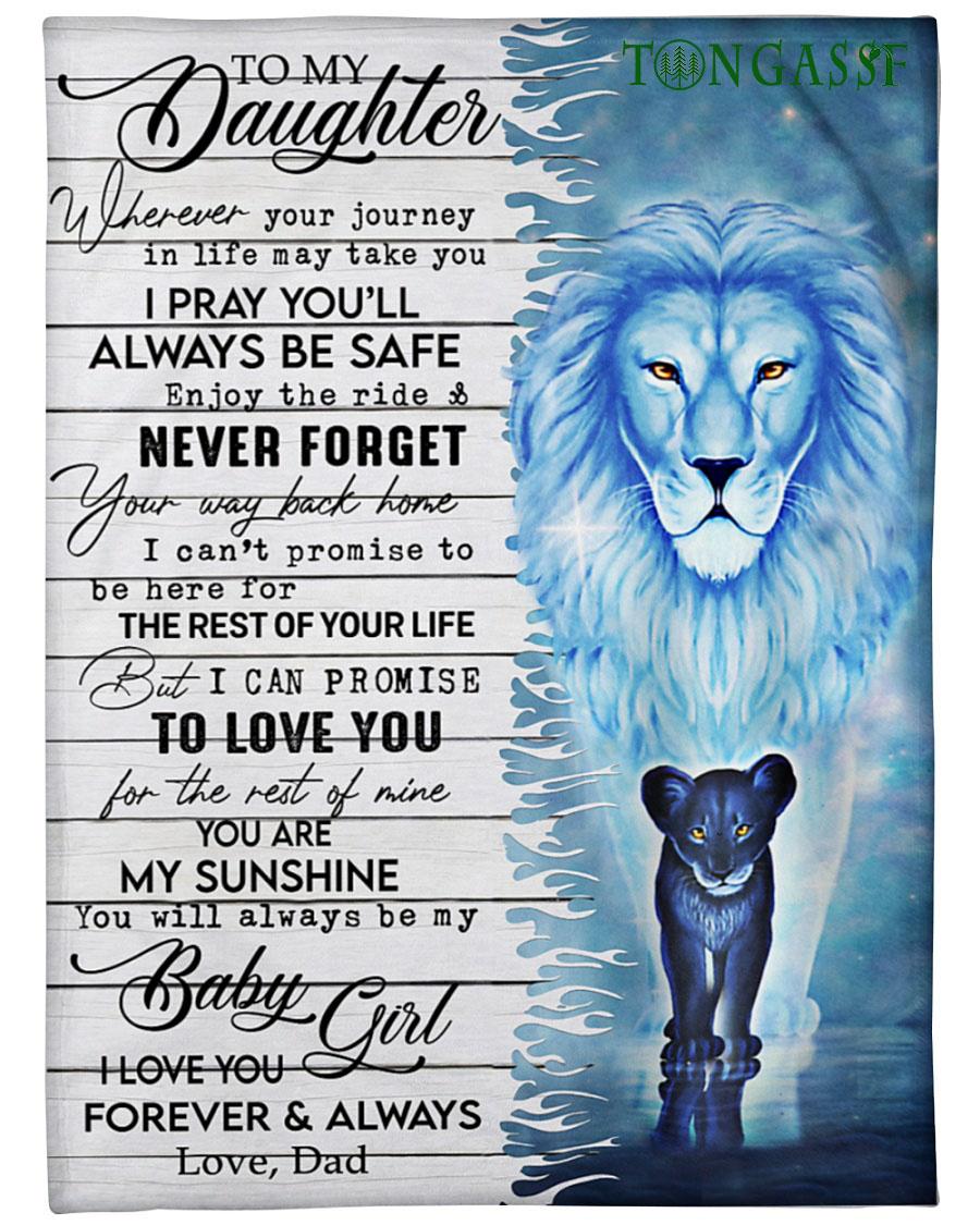 I pray you will always be safe Blue lion fleece blanket