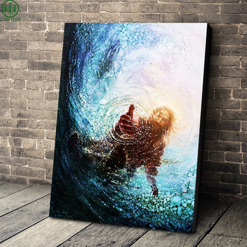 In Water Jesus Saves Life The hand of Jesus Christ canvas prints