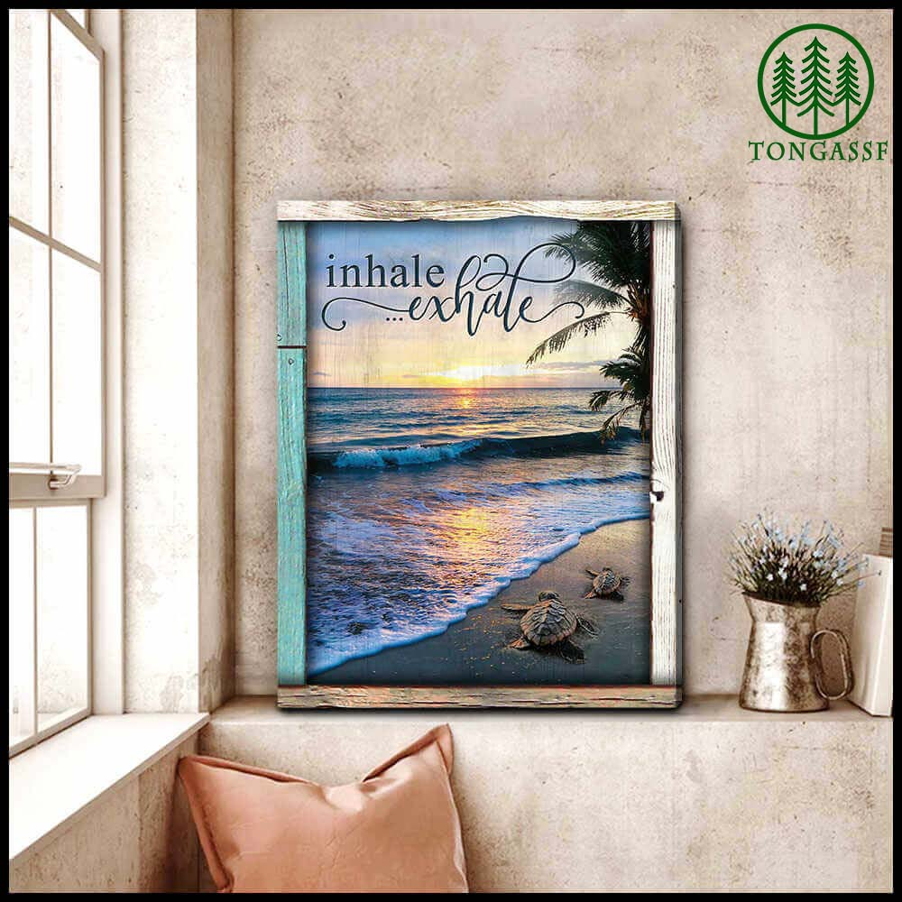 Inhale Exhale Turtles and Beach Canvas