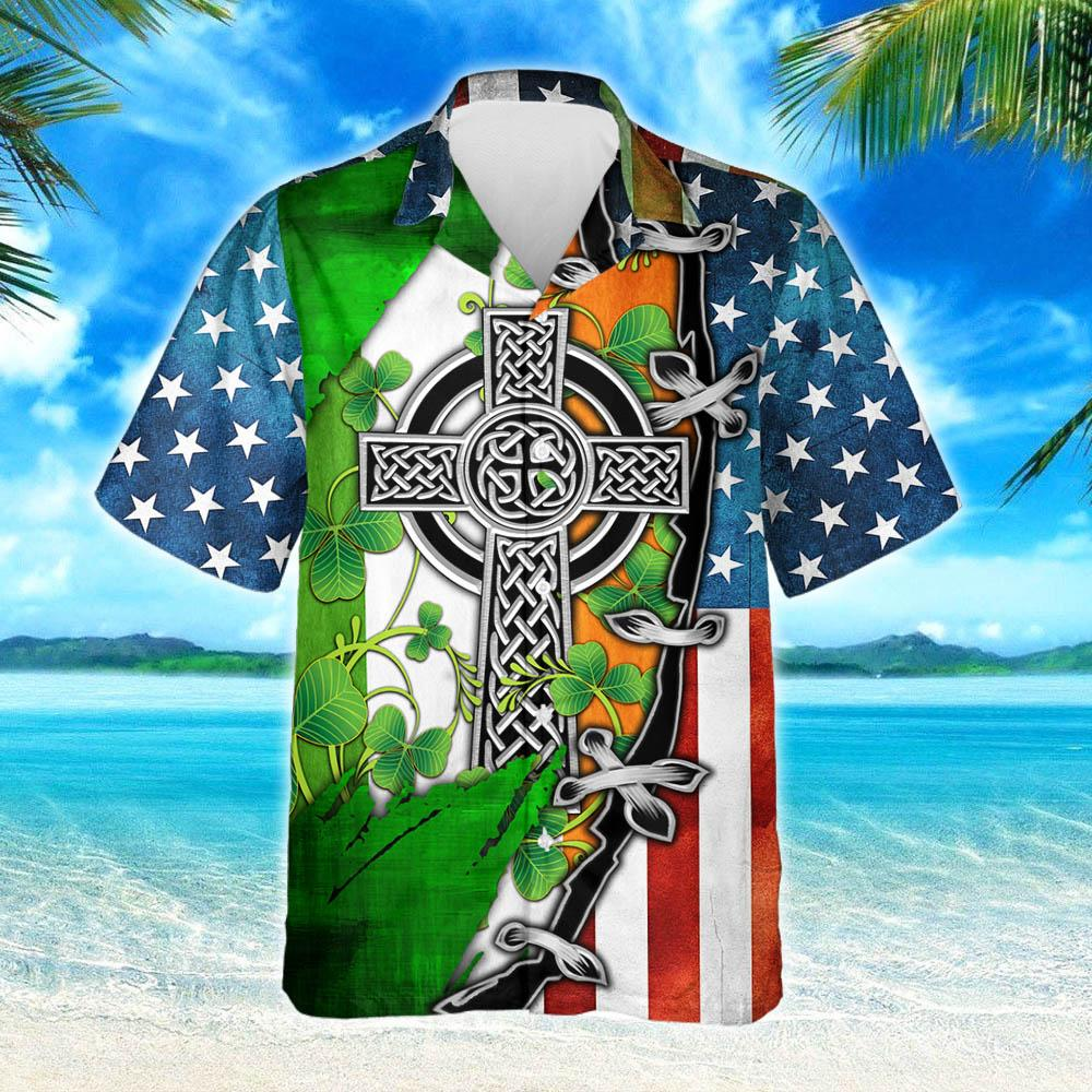 Irish Celtic Cross American Hawaiian Shirt 2