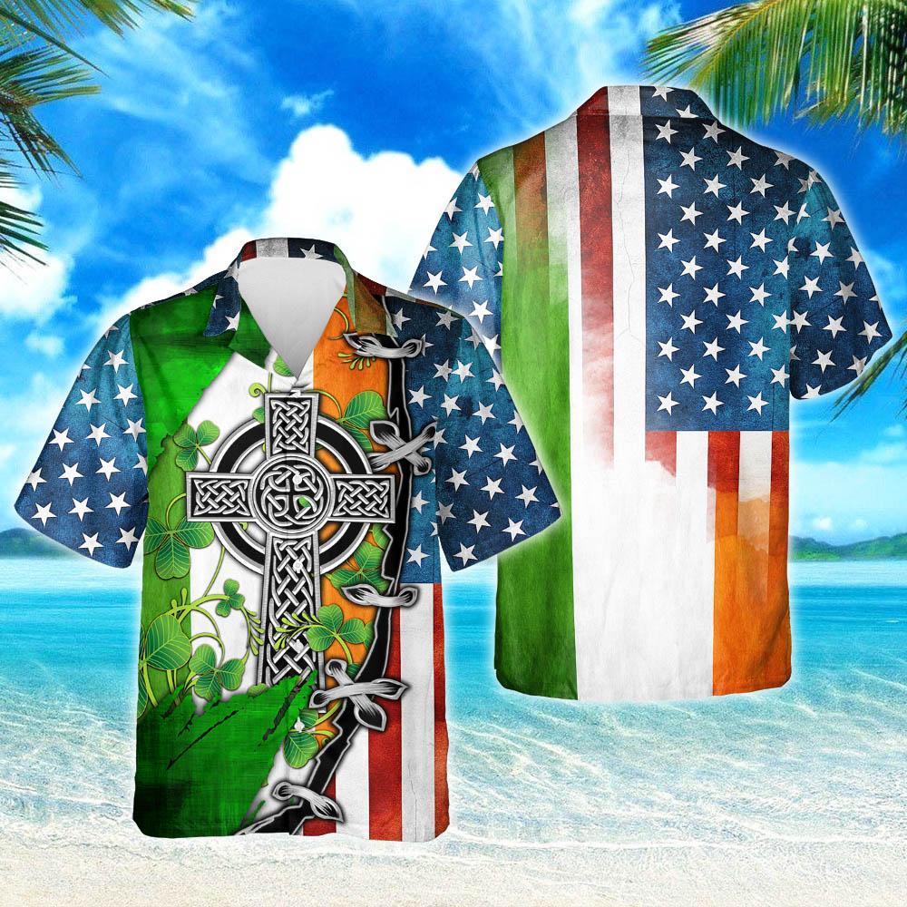 Irish Celtic Cross American Hawaiian Shirt