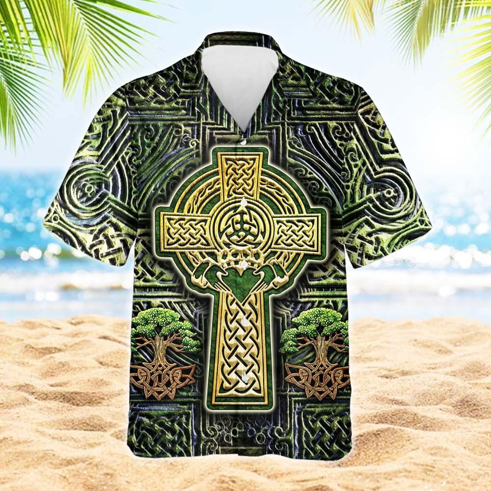 Irish Celtic Cross Hawaiian Shirt 2