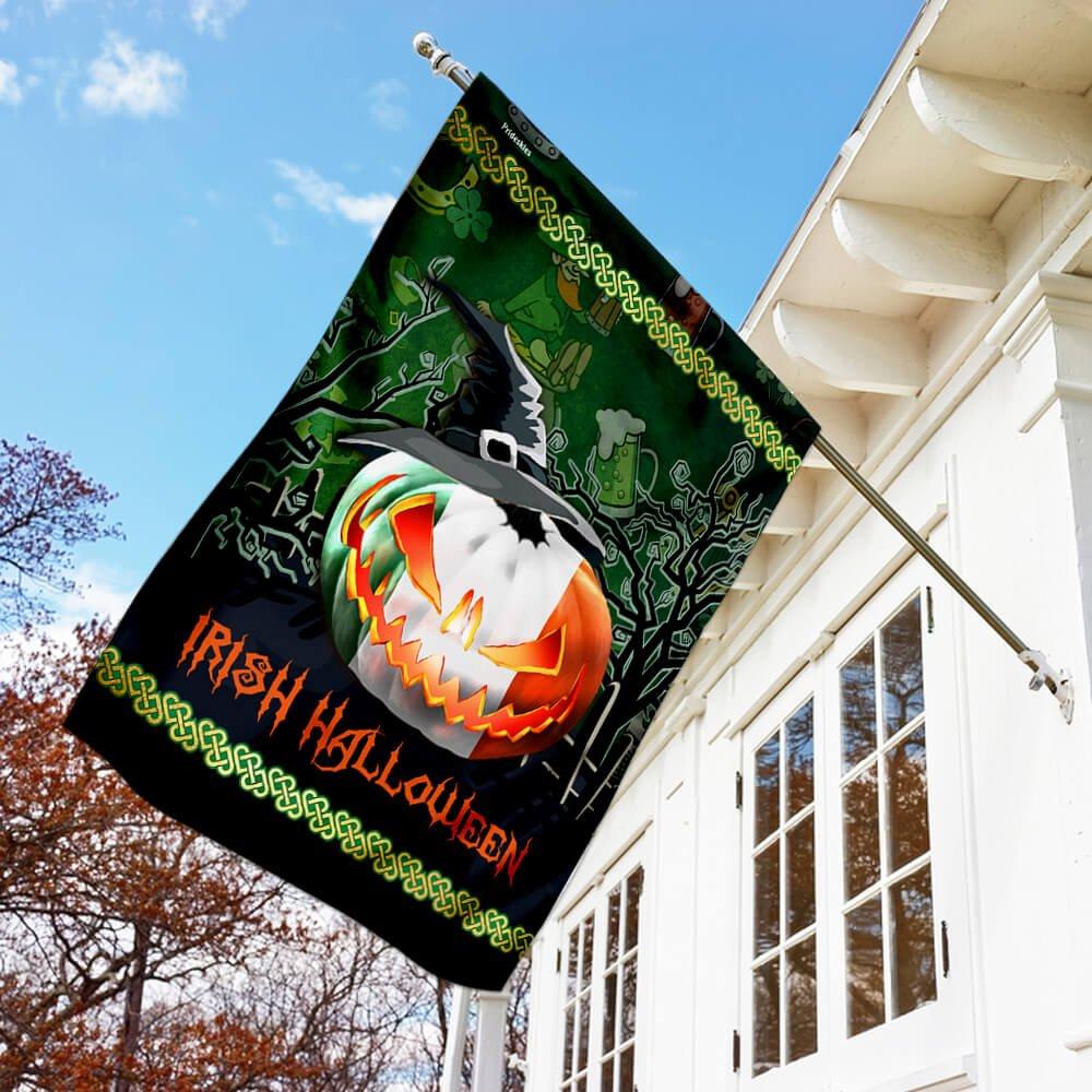 Irish Halloween pumpkin witch Flag