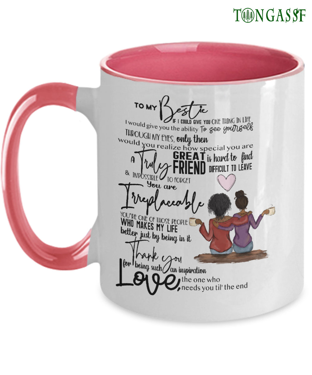 Irreplaceable besties pink mug