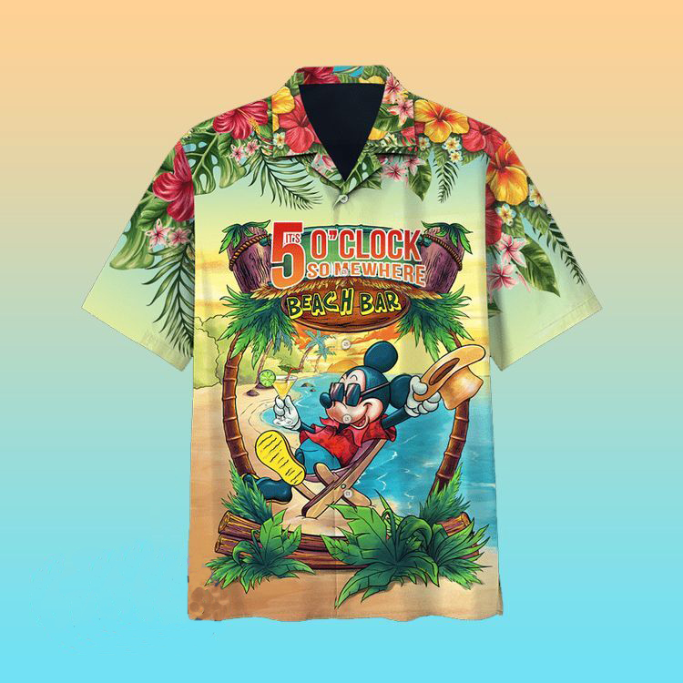 Mickey Mouse 5 o clock Somewhere Beach bar Hawaiian Shirt
