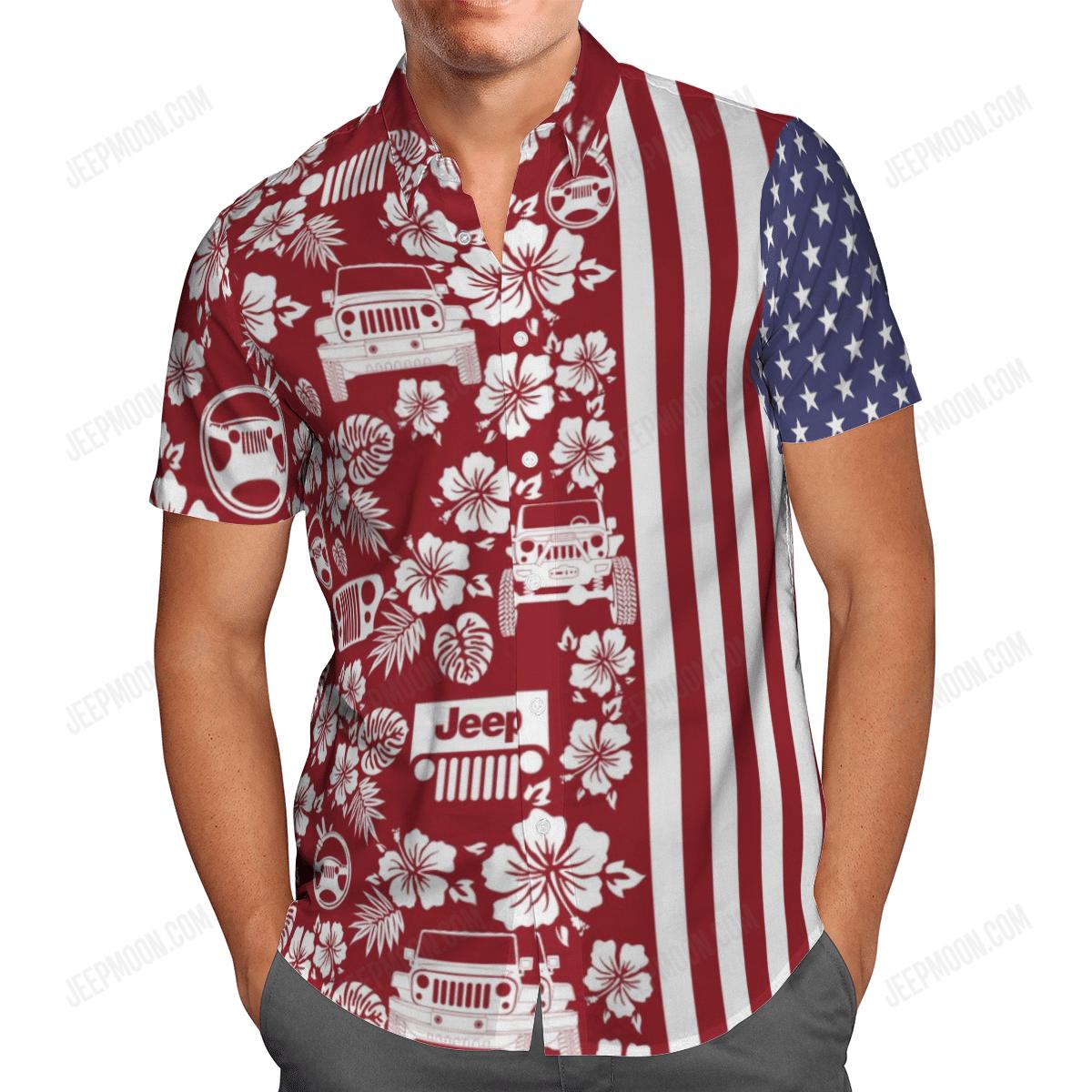 Jeep American Flag Hawaiian Shirt 2