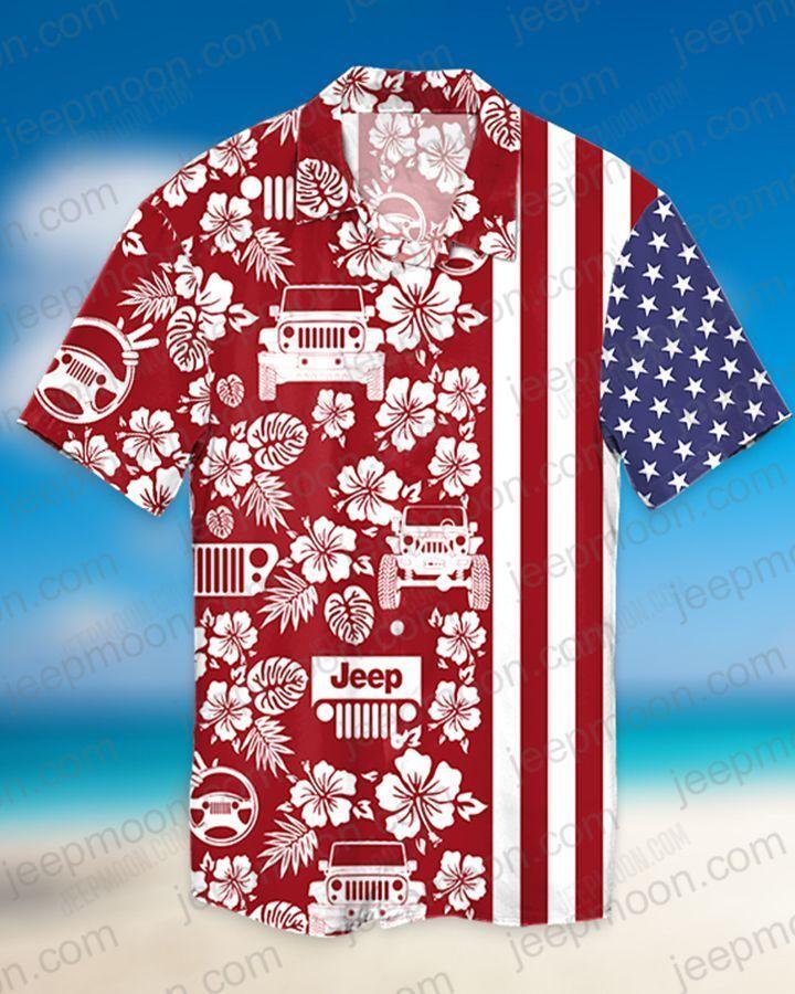 Jeep American Flag Hawaiian Shirt