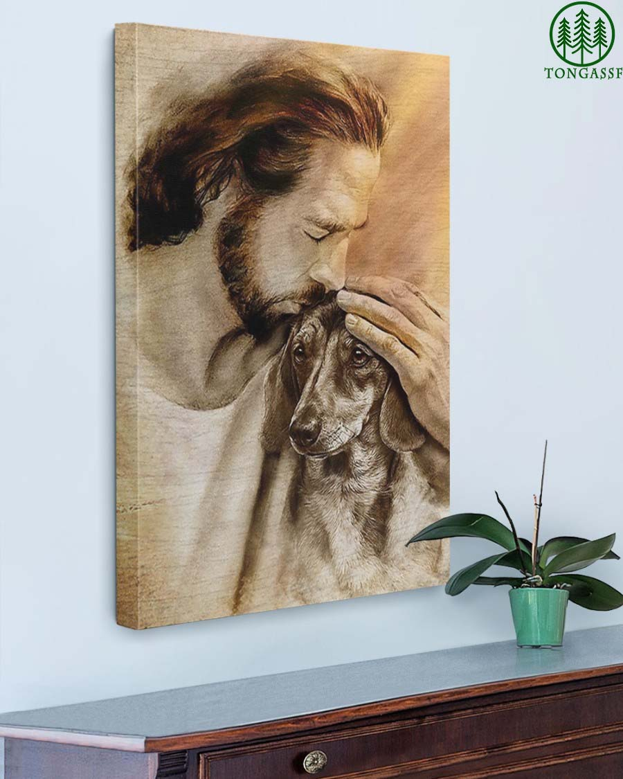 Jesus With Lovely Dachshund For Dachshund Lover Gallery Wrapped Canvas Prints