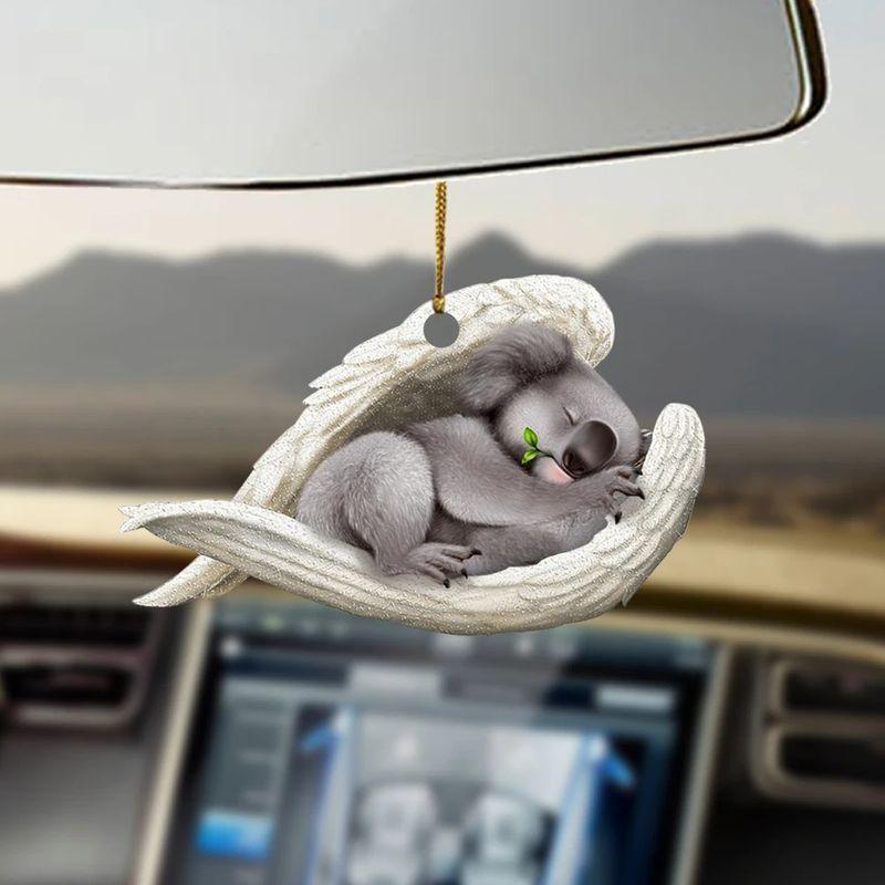 Koala sleeping angel hanging ornament