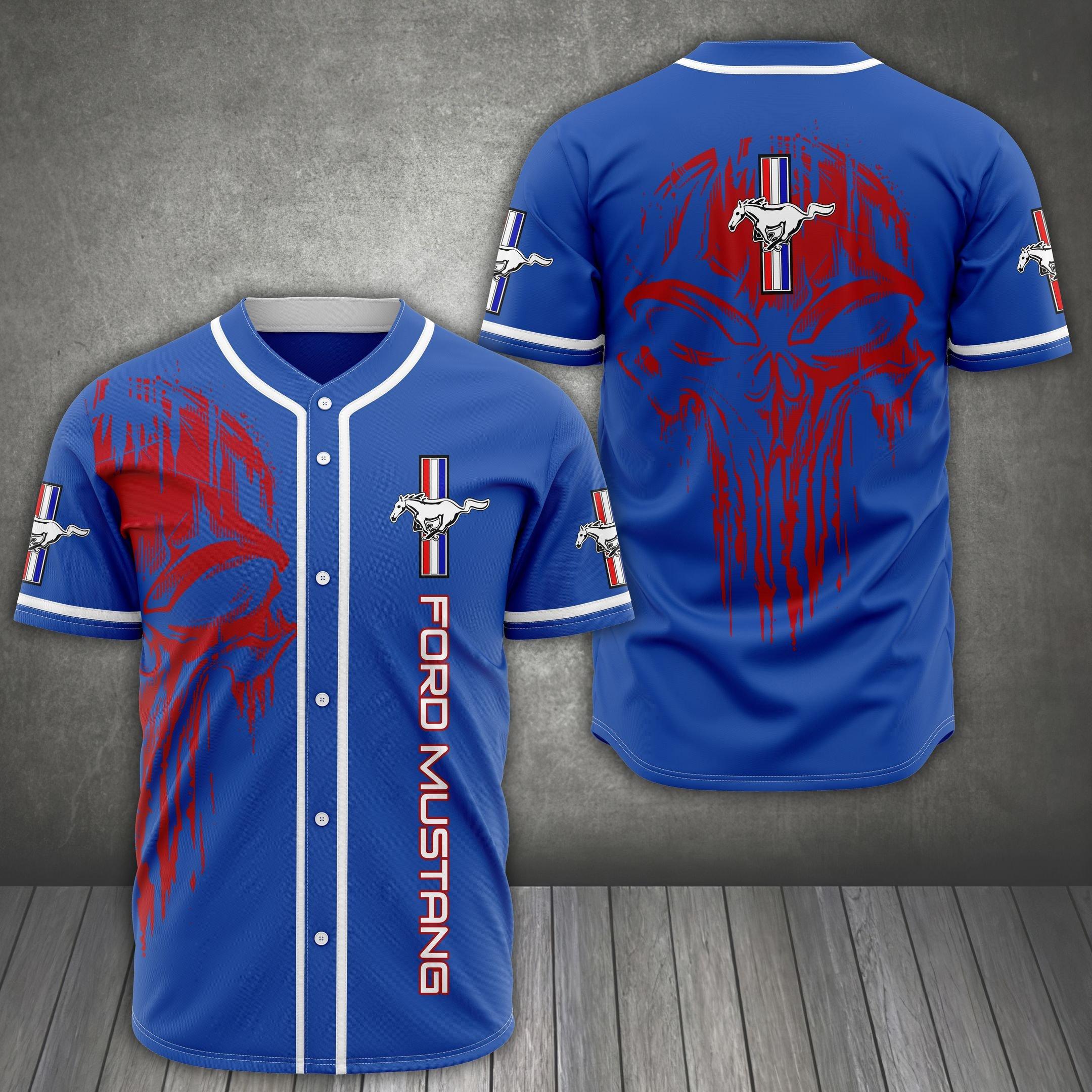 FORD MUSTANG red skull bule baseball Jersey shirt