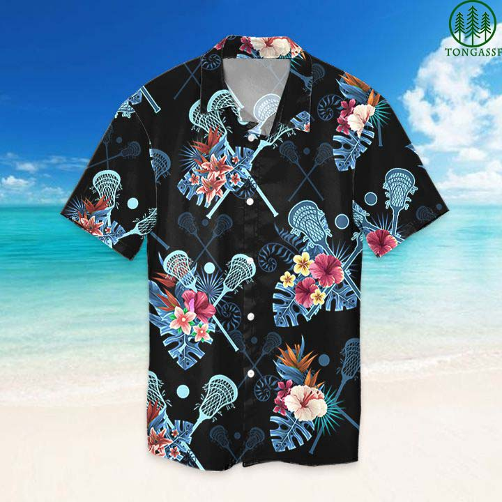 Lacrosse tropical flower Hawaiian Shirt