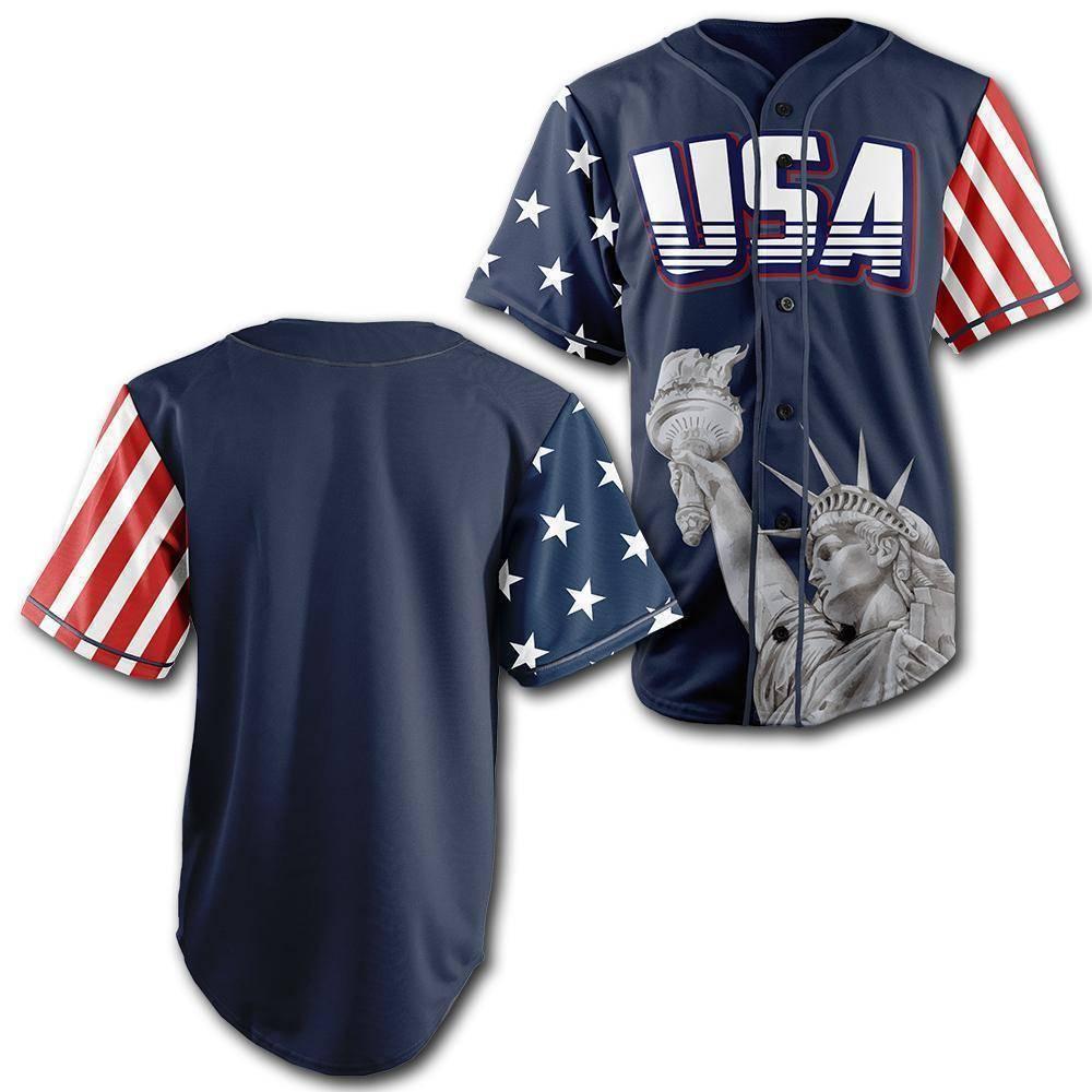 Personalized Blue America Statue of Liberty Baseball Jersey Shirt