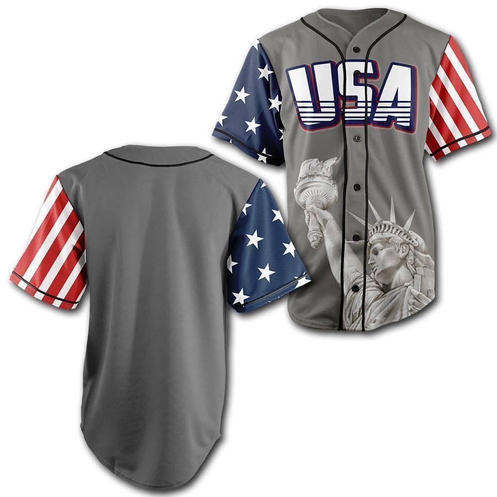 Personalized Grey America Statue of Liberty Baseball Jersey Shirt