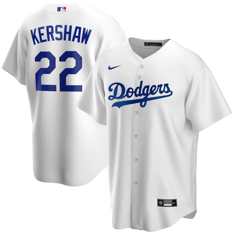Los Angeles Dodgers Clayton Kershaw Nike White Replica Baseball Jersey