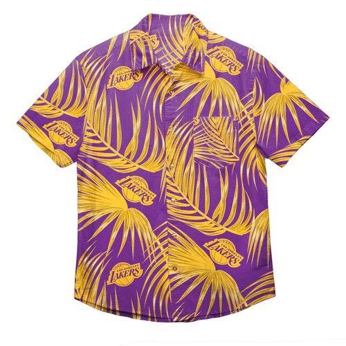 Los Angeles Lakers NBA Palm leaf Hawaiian Button Up Shirt