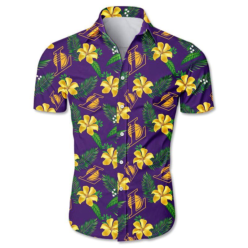 NBA Los Angeles Lakers Floral Hawaiian Shirt Small Flowers