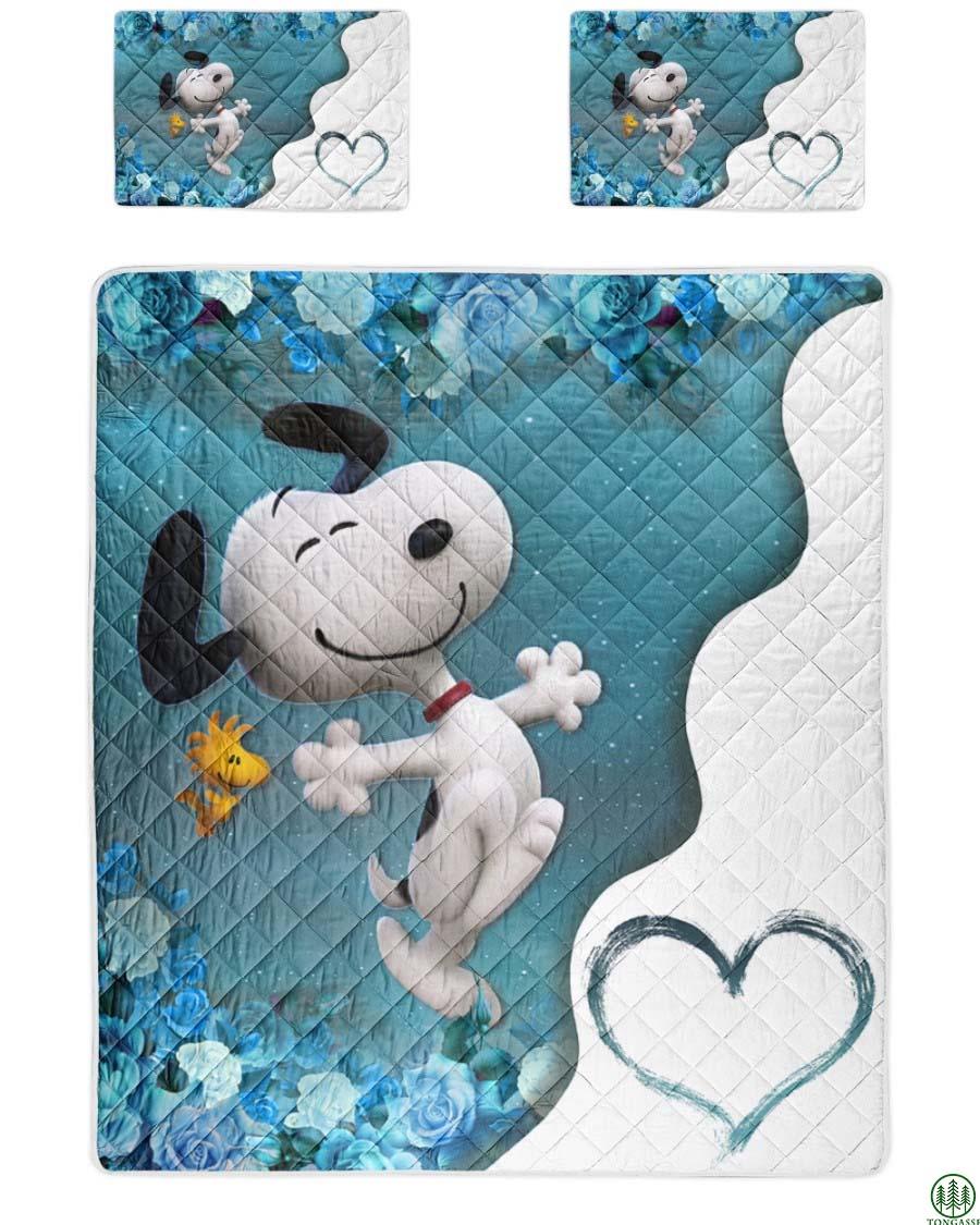 Love Snoopy Blue Bedding Set