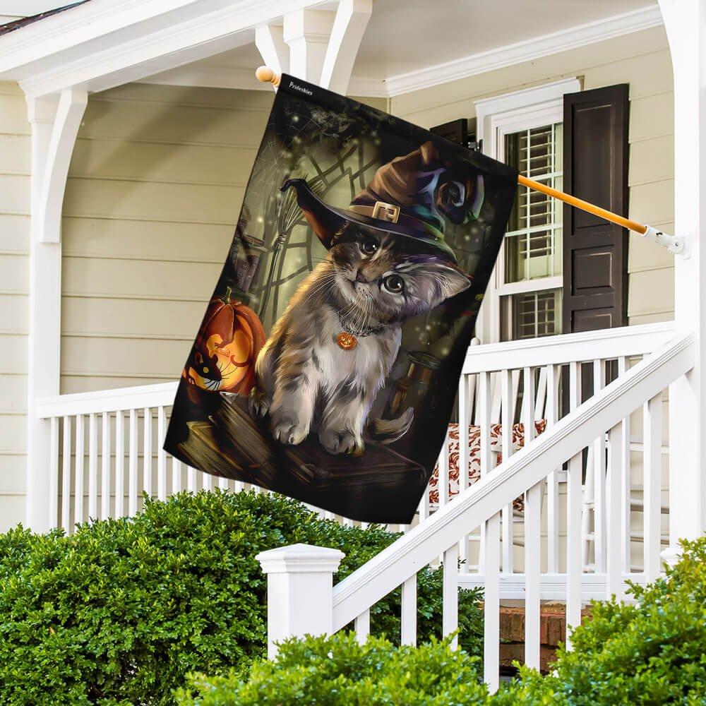 Lovely Kitten Halloween House Flag Garden Flag