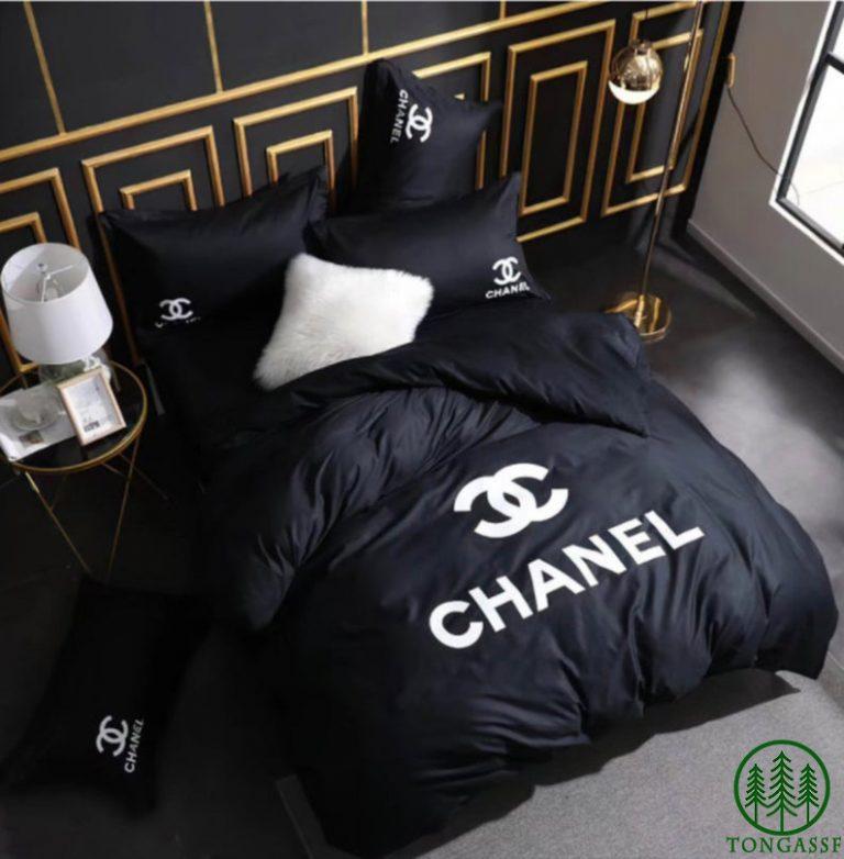 Luxury Chanel black bedding set
