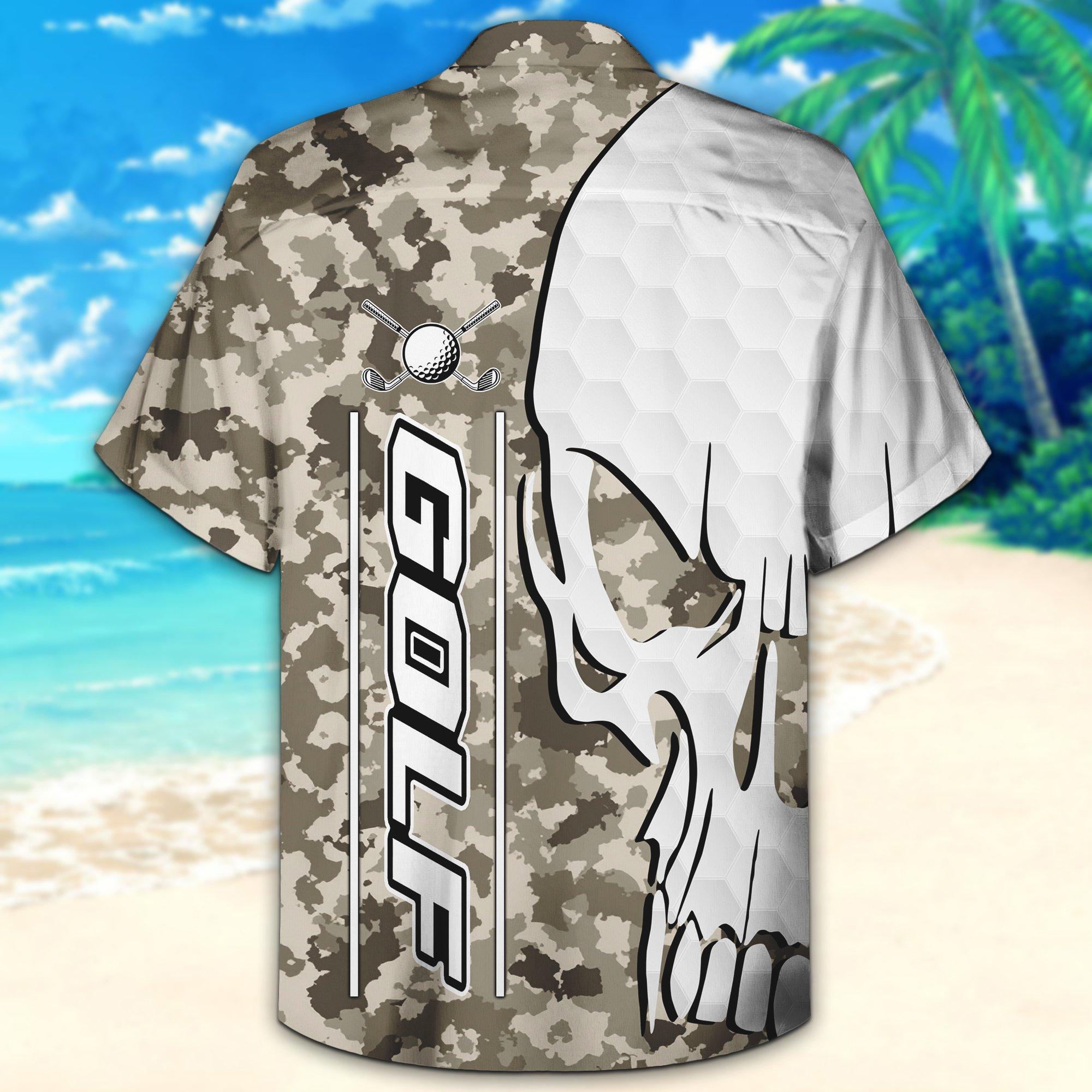 Golf 3D Camouflage Hawaiian Shirt And Short