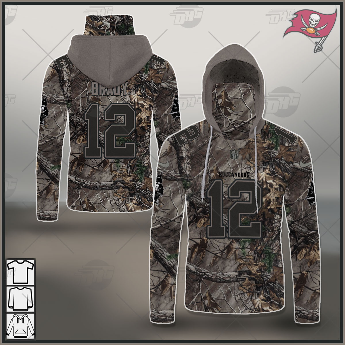 NFL Tampa Bay Buccaneers Camo Real Tree Jersey Tom Brady Clothes Hunting Gear Personalized
