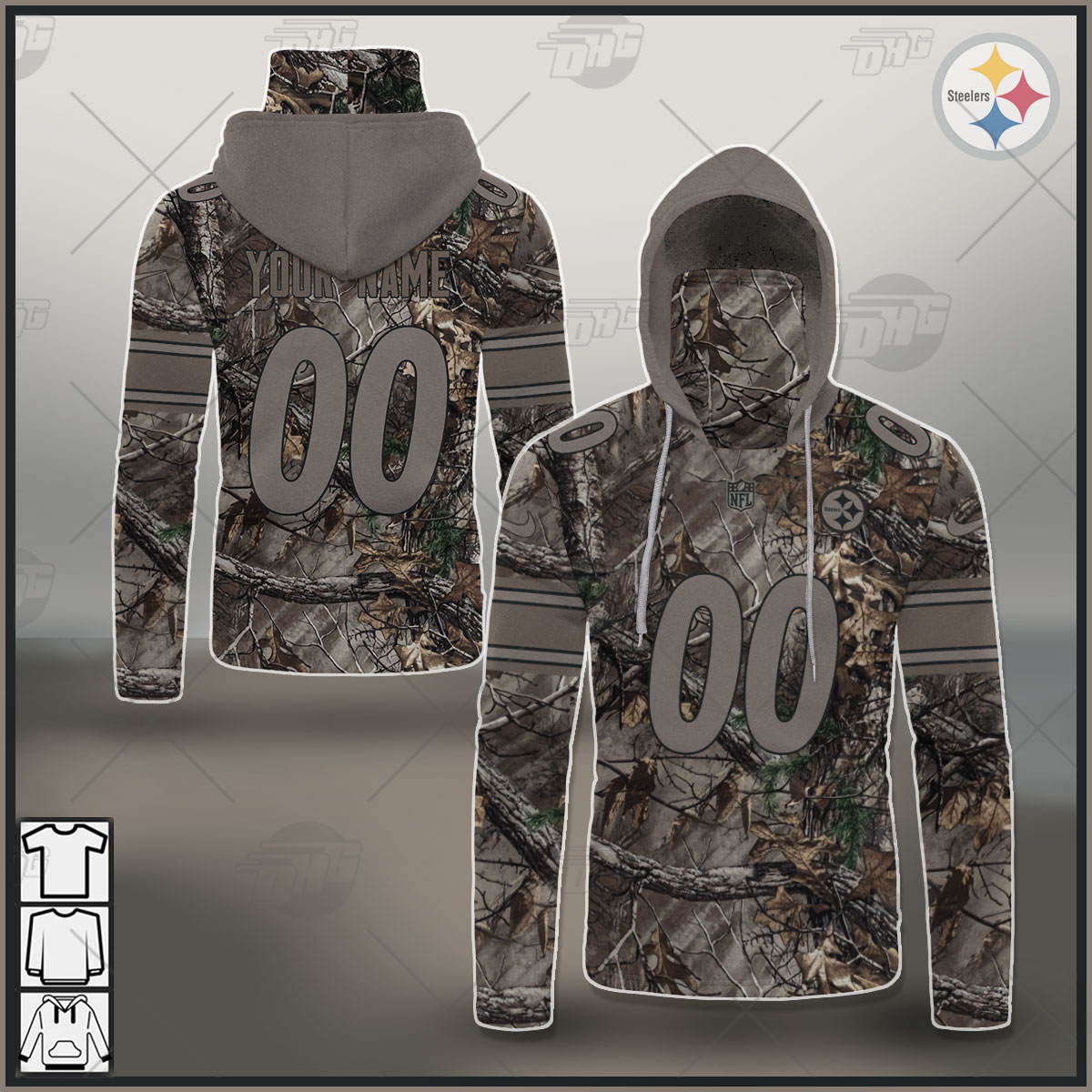 NFL Pittsburgh Steelers Camo Real Tree Jersey Clothes Hunting Gear Personalized