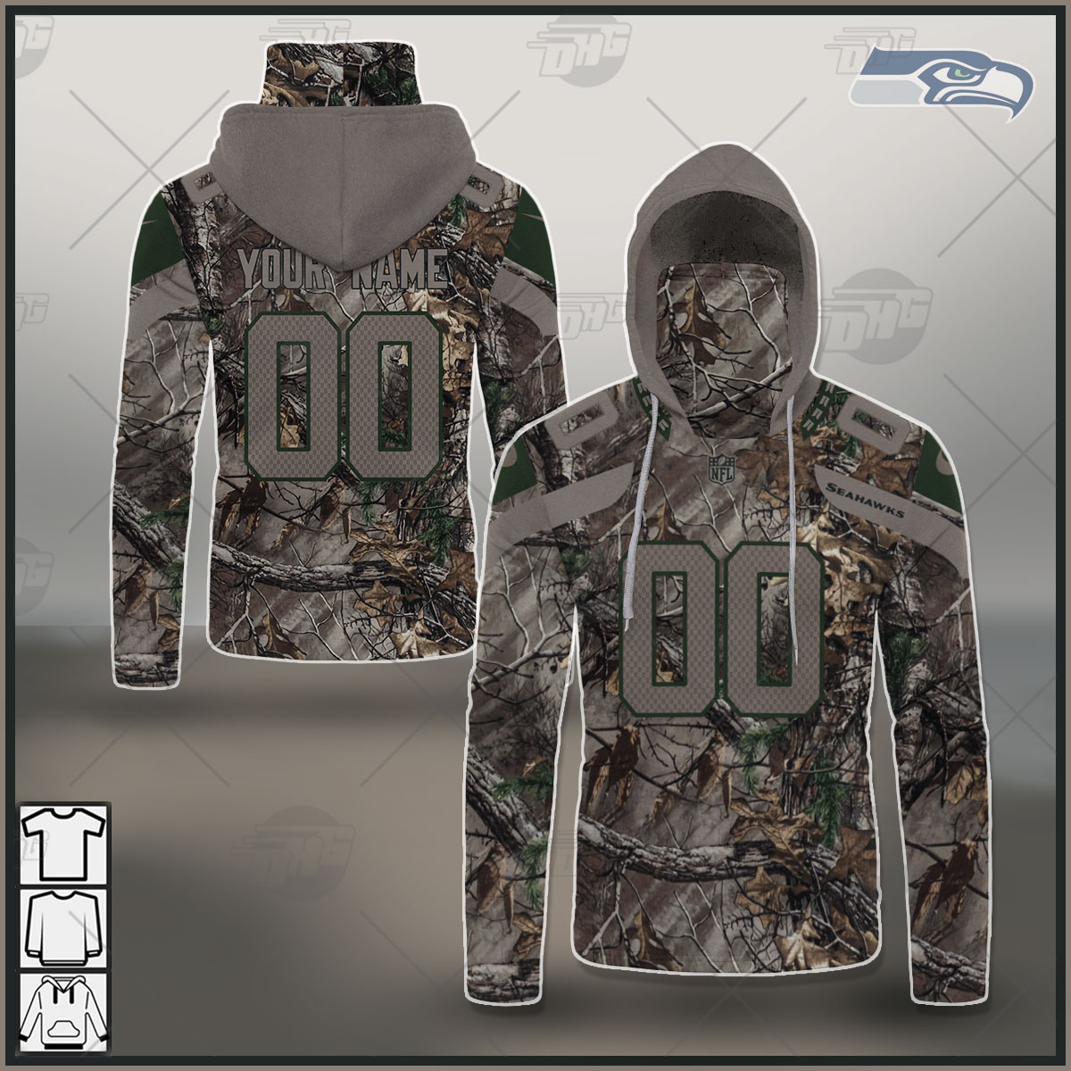NFL Seattle Seahawks Camo Real Tree Jersey Clothes Hunting Gear Custom