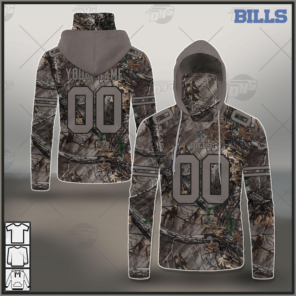 NFL Buffalo Bills Camo Real Tree Jersey Clothes Hunting Gear Custom