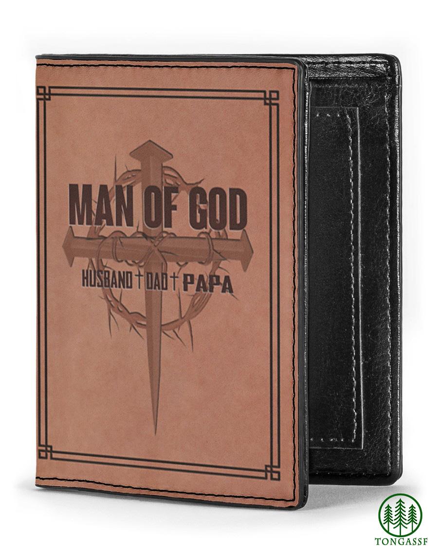 Man of God husband god papa Leather Wallet