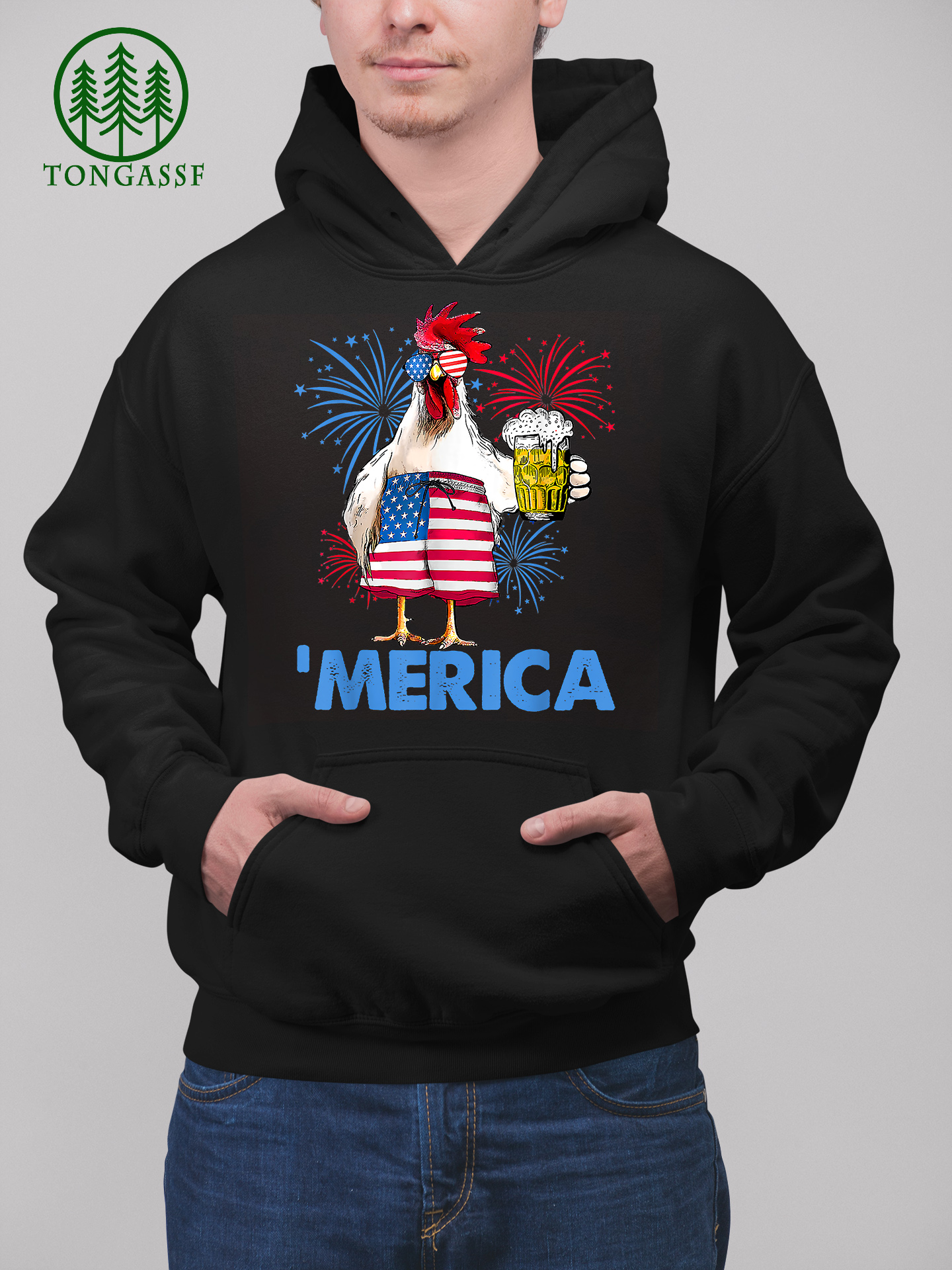 Merica Funny Chicken with beer USA Flag 4th of July Hoodie Shirt
