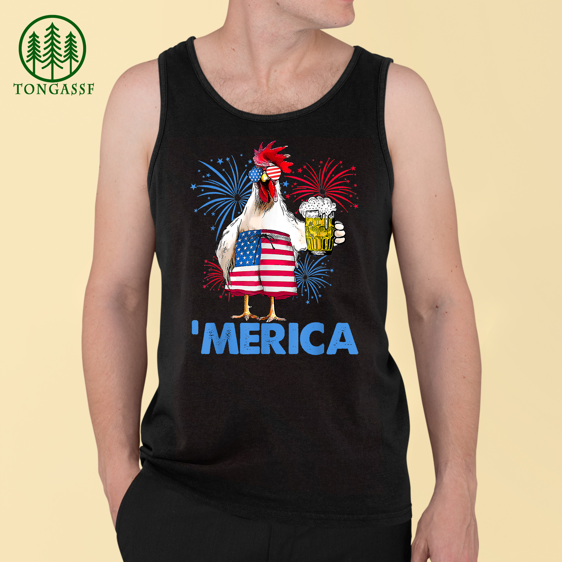 Merica Funny Chicken with beer USA Flag 4th of July Tank Top