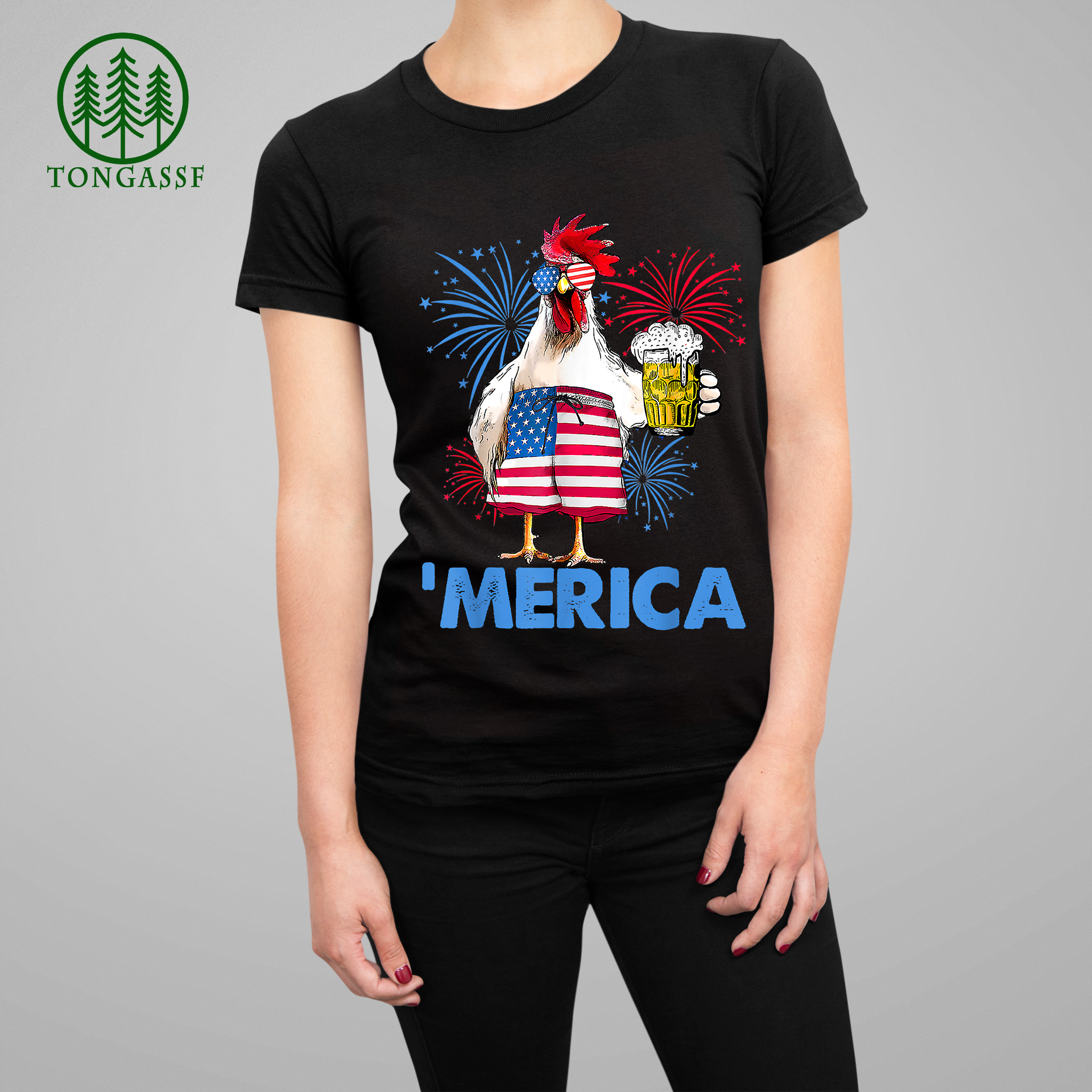 Merica Funny Chicken with beer USA Flag 4th of July Woman Tee