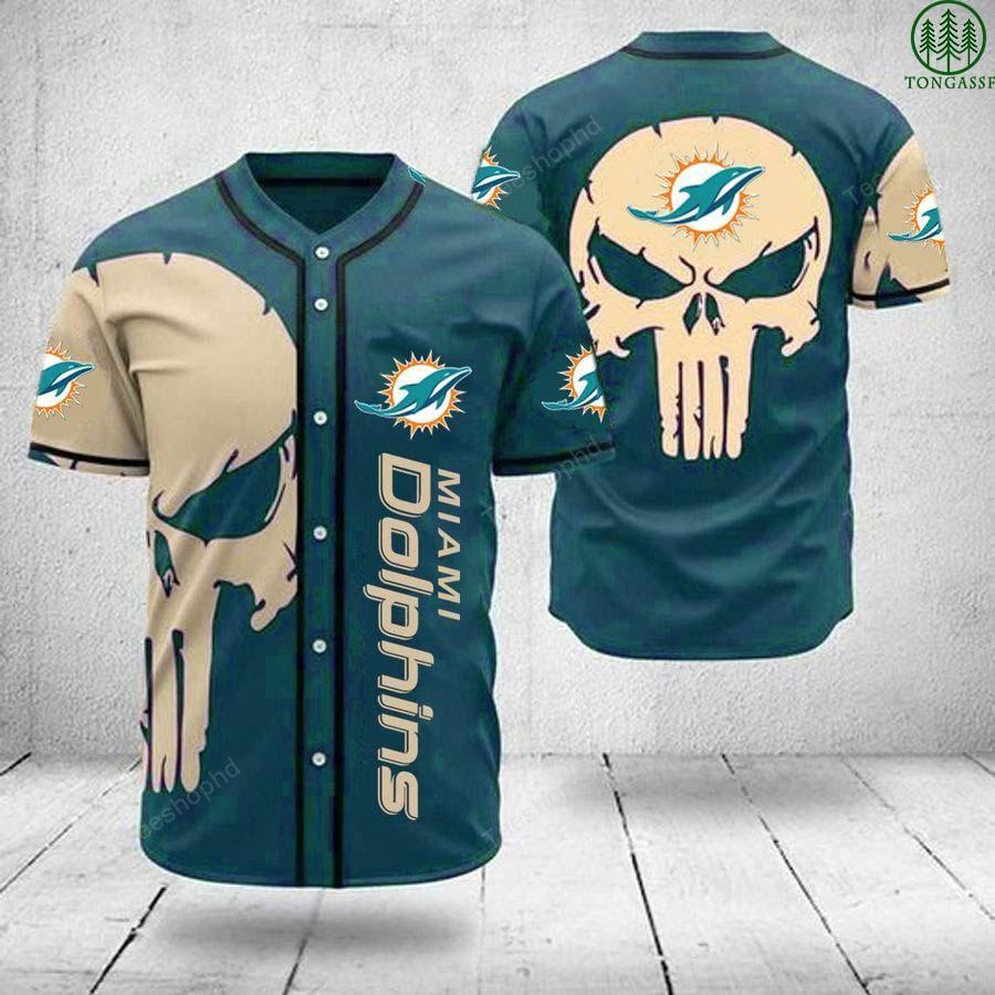 Miami Dolphins skull NFL baseball Jersey shirt