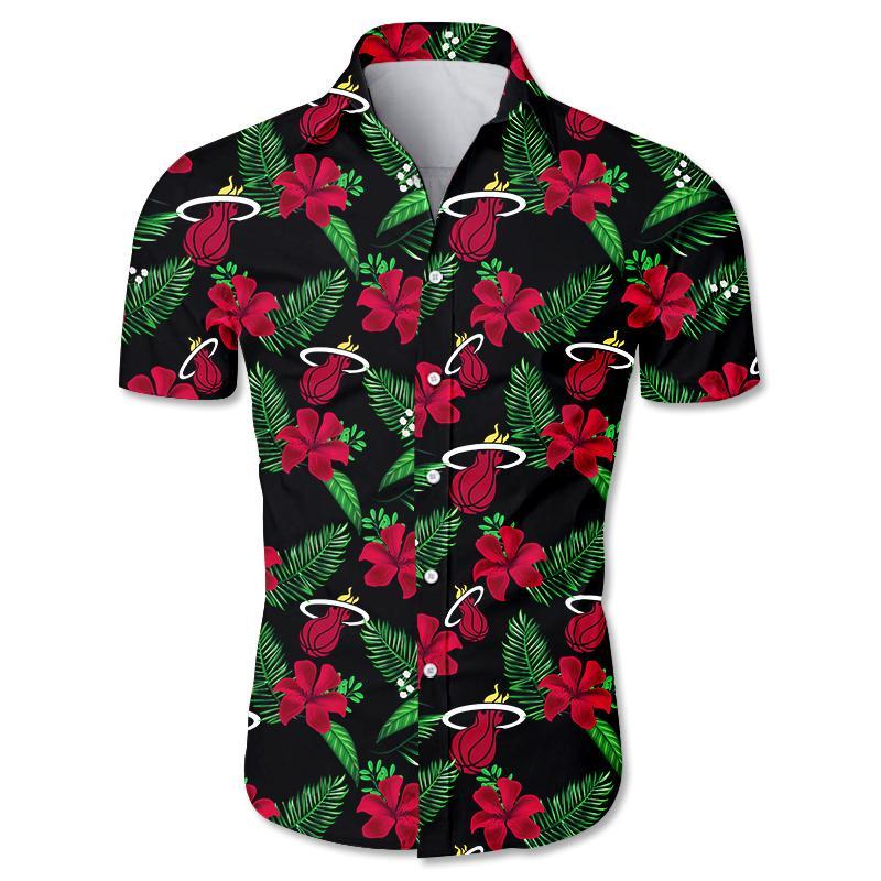 NBA Miami Heat Floral Hawaiian Shirt Small Flowers