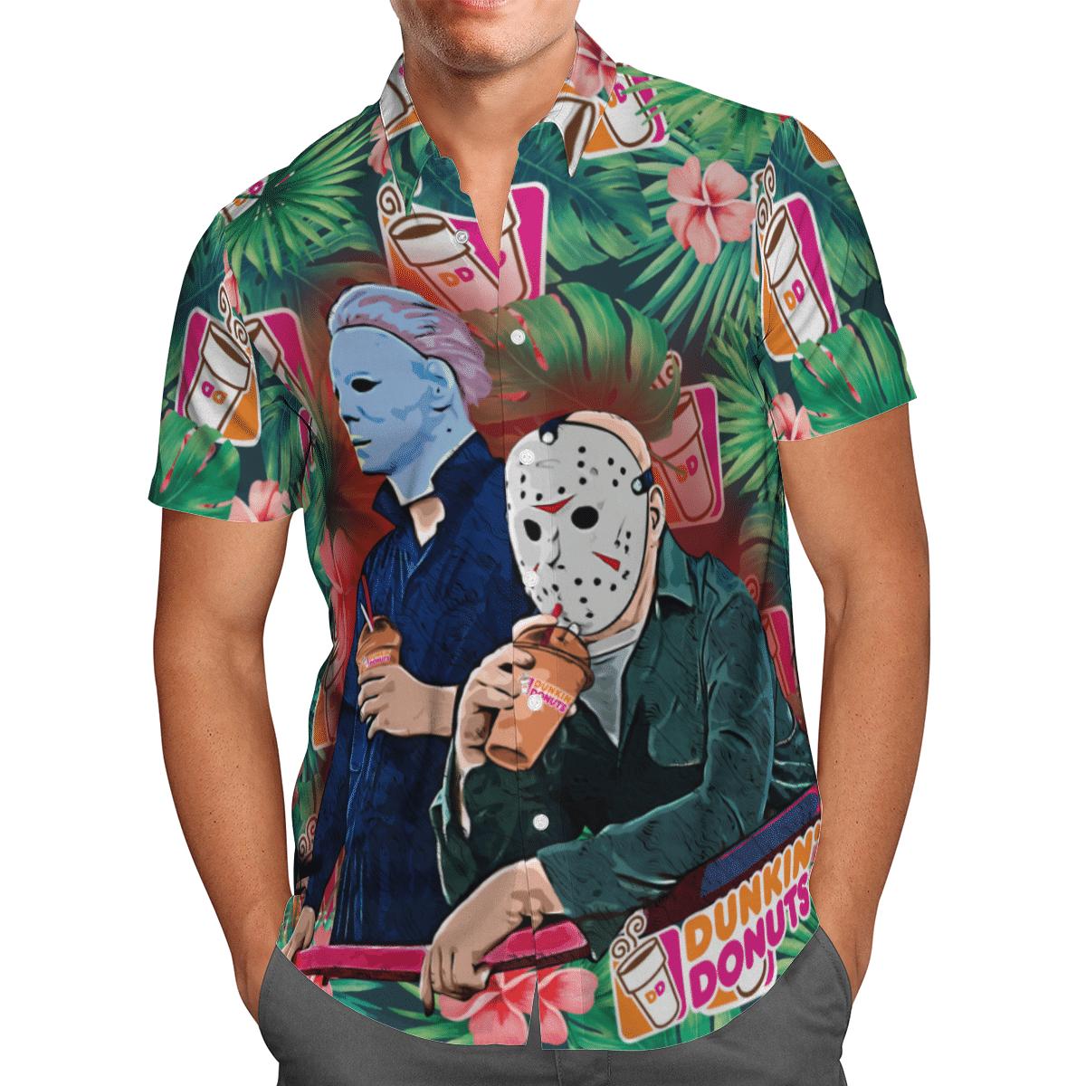 Michael Myers Jason Voorhees Dunkin Donuts Hawaiian Shirt 2