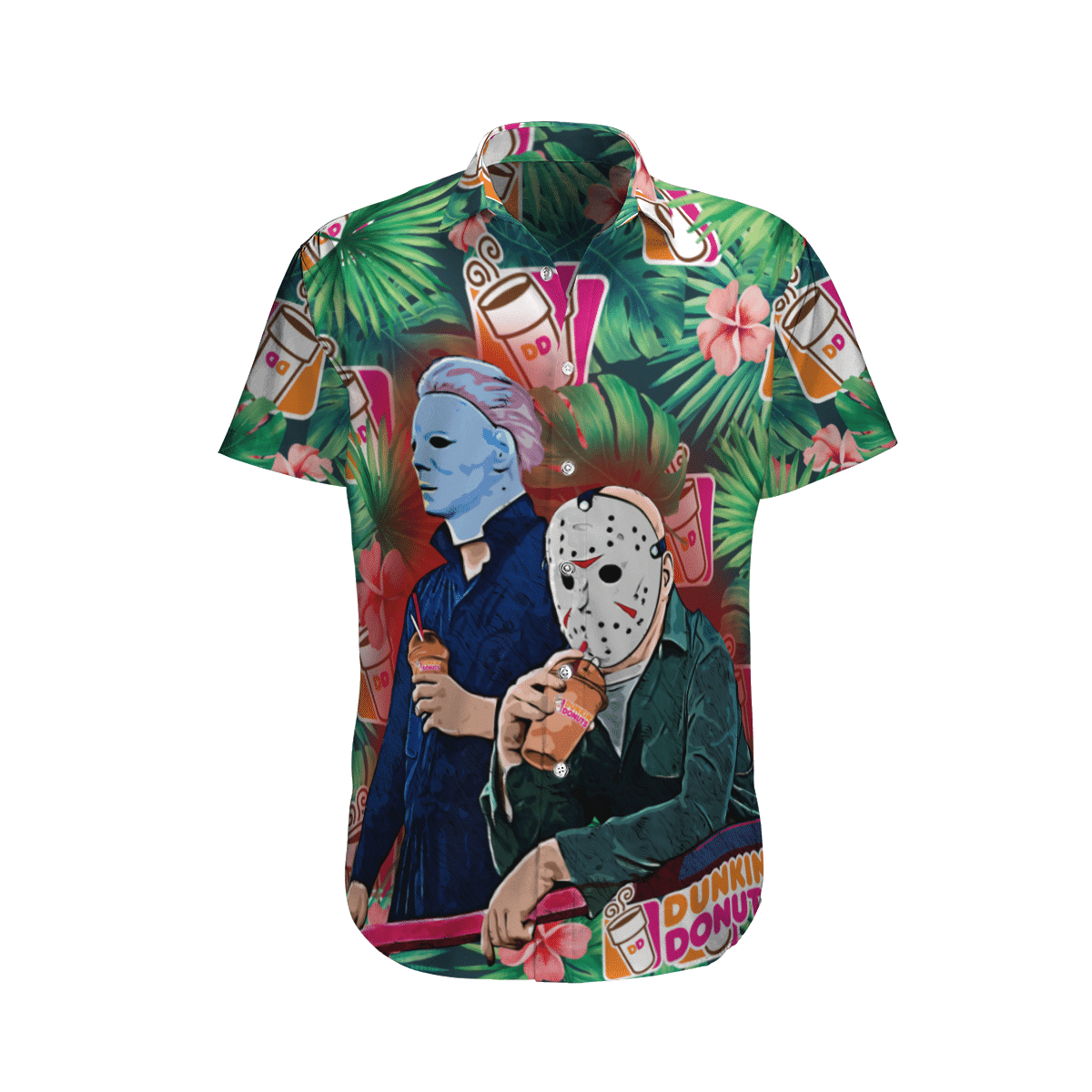 Michael Myers Jason Voorhees Dunkin Donuts Hawaiian Shirt