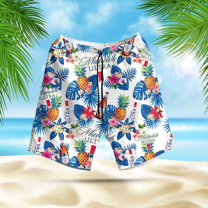 Michelob Ultra Beer Hawaiian Shirt and Summer Shorts