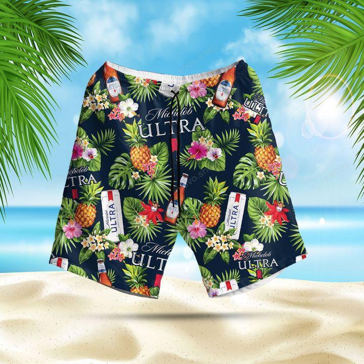 Michelob Ultra Beer Tropical Flower Hawaiian Shirt and Summer Shorts