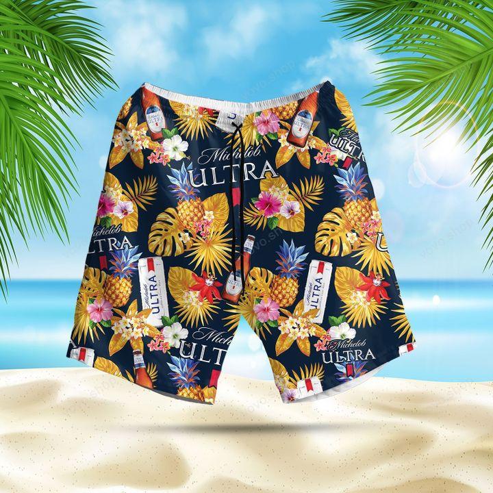 Michelob Ultra Beer pineapple Hawaiian Shirt and Summer Shorts