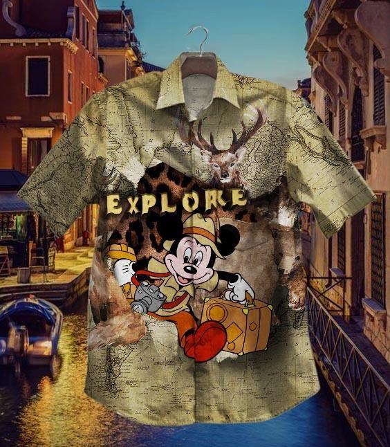 Mickey explore the world Hawaiian Shirt Summer Shirt