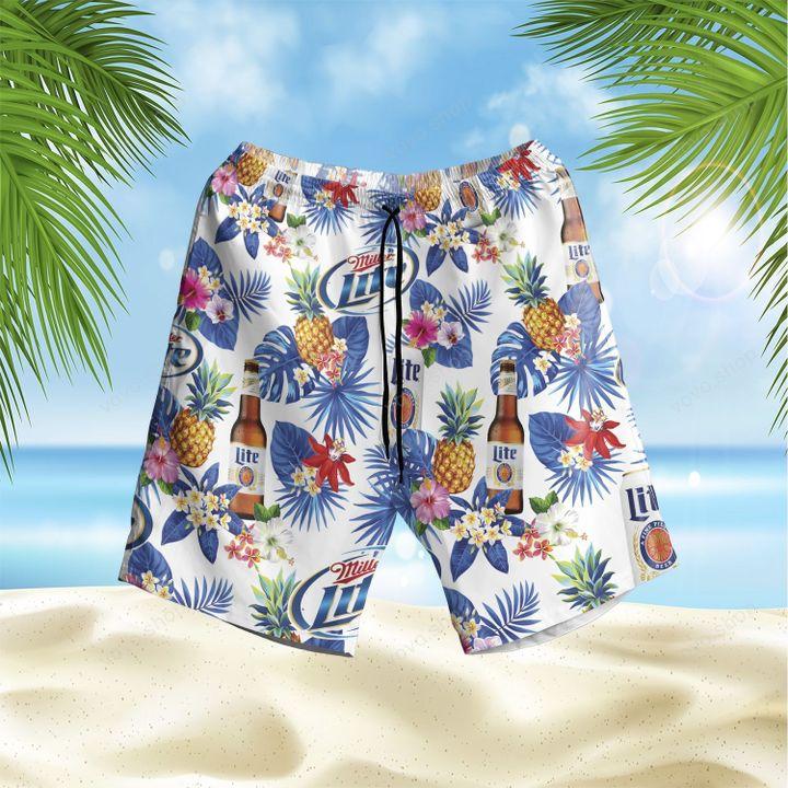 Miller Lite Beer Floral Hawaiian Shirt and Summer Shorts