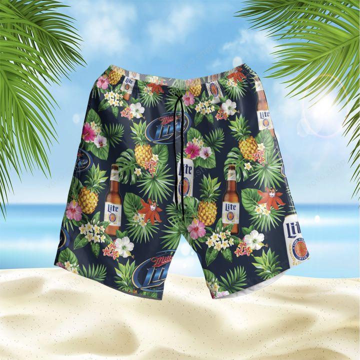 Miller Lite Beer Tropical Flower Hawaiian Shirt and Beach Shorts
