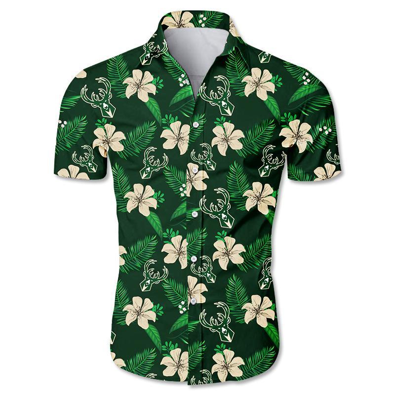NBA Milwaukee Bucks Floral Hawaiian Shirt Small Flowers