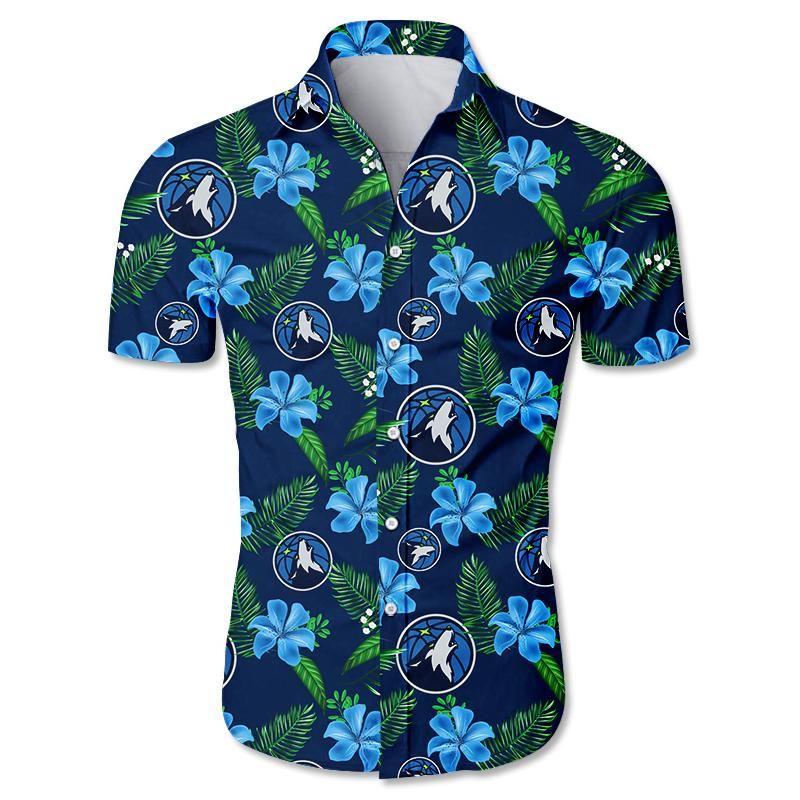 NBA Minnesota Timberwolves Floral Hawaiian Shirt Small Flowers
