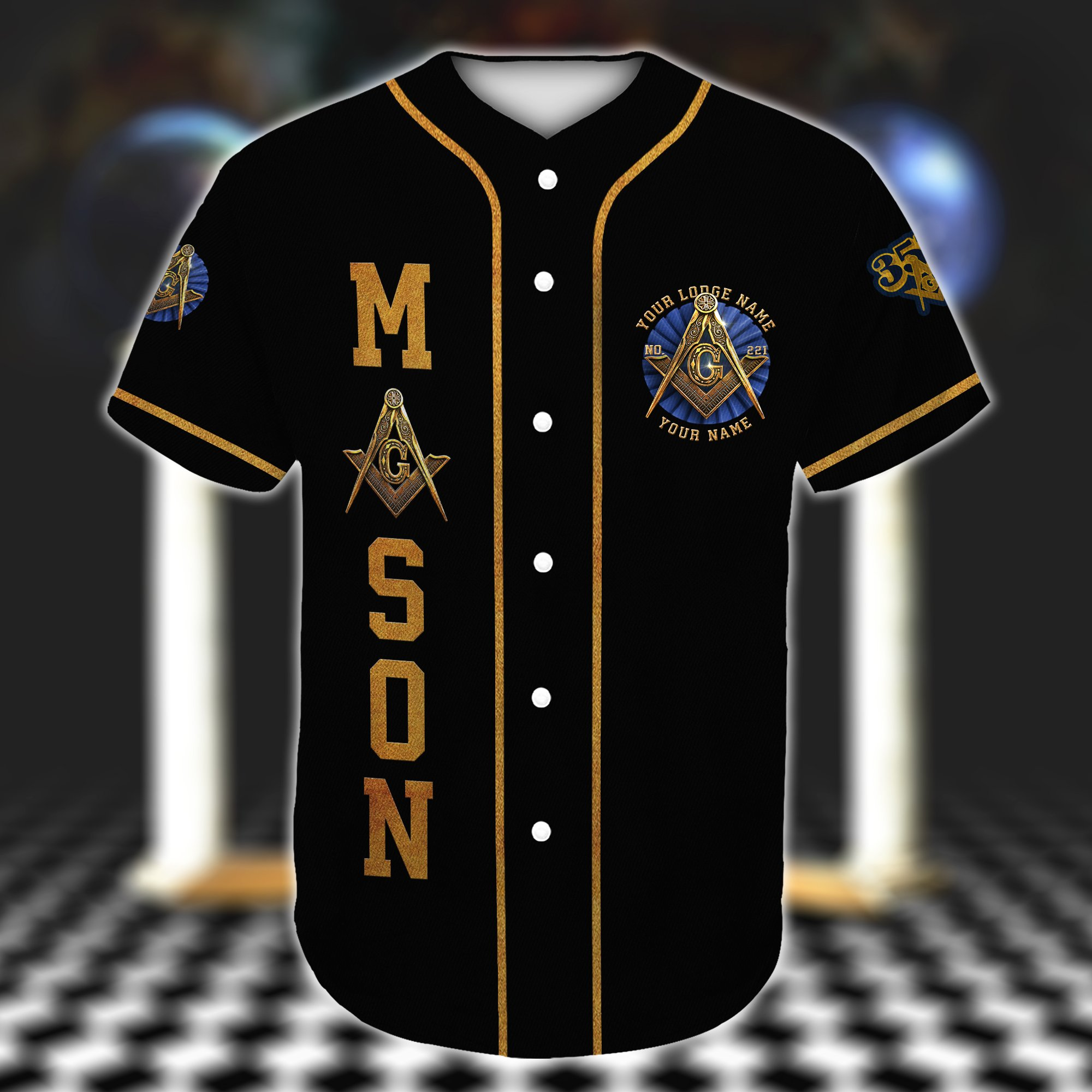 Custom Lodge Name Number Freemason Baseball Jersey Shirt