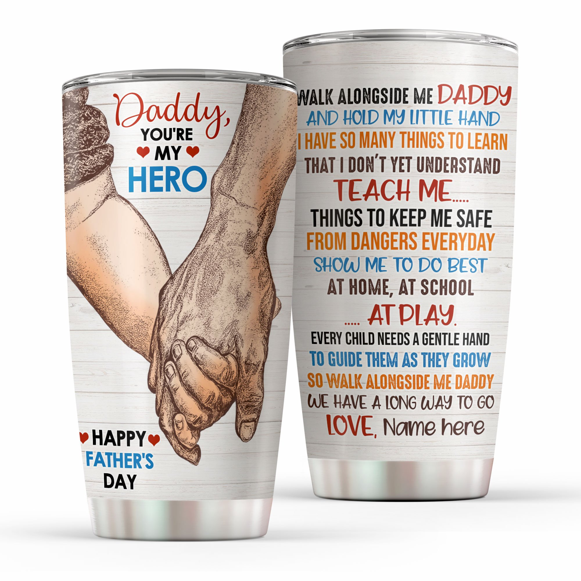 Personalized Thank you for teaching me Daddy You are My Hero Tumbler Cup
