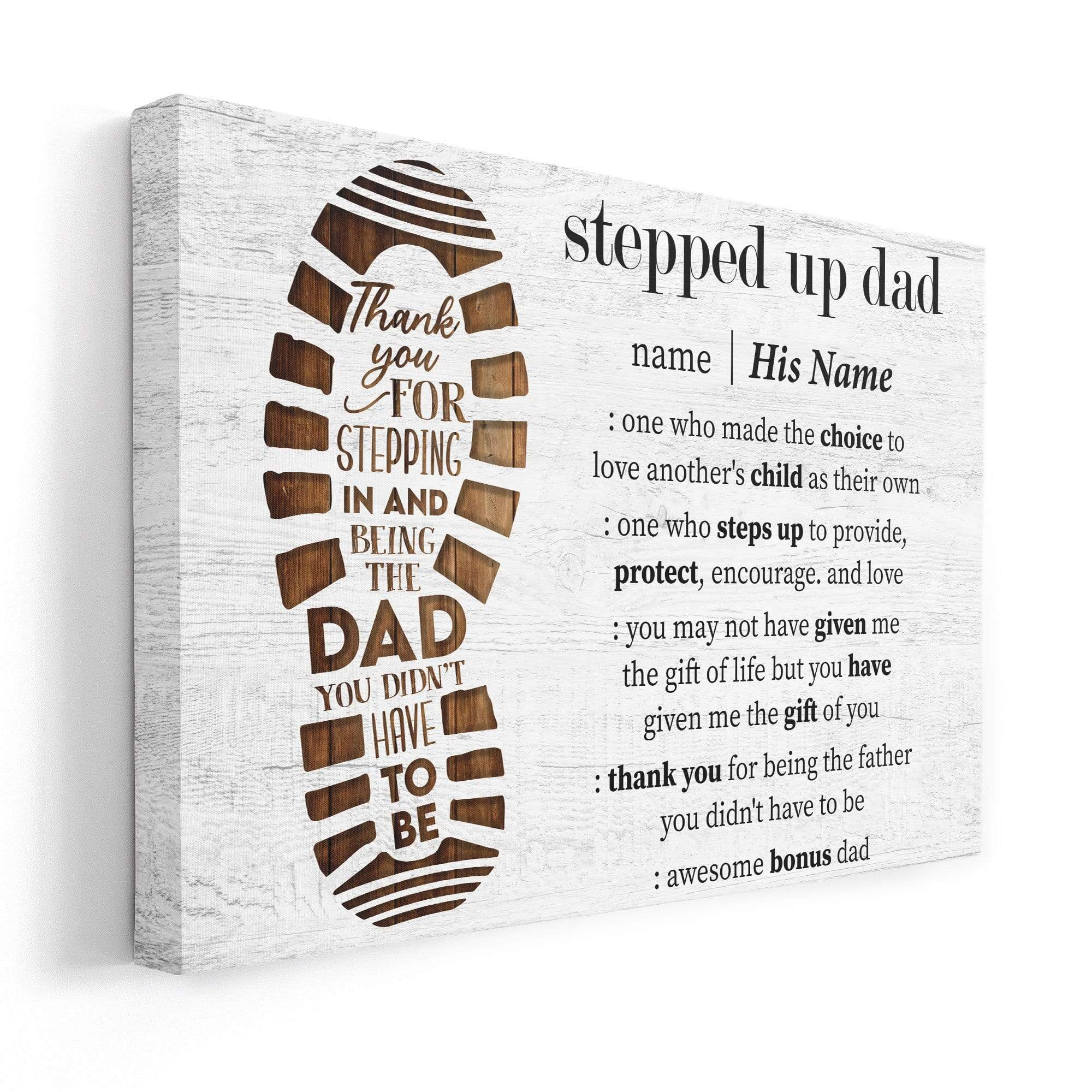 Custom Name Thank You For Stepping In And Being The Dad Step Dad Canvas